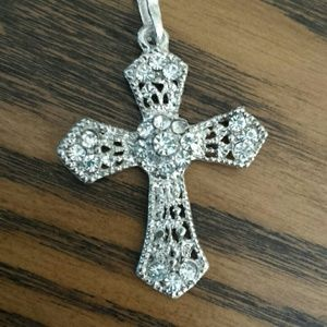 Crystal Cross Necklace Vintage Style Silver Tone